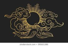 Sun in the sky over the sea Decorative graphic design element Vector illustrat is part of Female Wolf tattoos Awesome - Sun in the sky over the sea Decorative graphic design element Vector illustration in oriental style Source by leslieloisirs Illustration Vector, Landscape Illustration, Design Elements, Design Art, Vector Design, Word Design, Tattoo Grafik, Images Of Sun, Sun Drawing