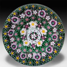 Drew Ebelhare 2013 close concentric millefiori glass paperweight. by Drew Ebelhare & Sue Fox