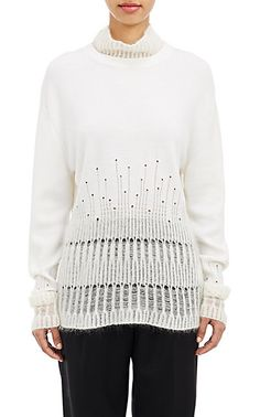 bdb8134f59a41c 3.1 Phillip Lim Mixed-Knit Sweater - Turtleneck - Barneys.com Knitting  Stitches