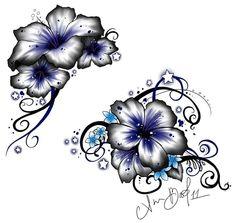 Impressive Hawaiian Flowers Tattoo Design #hawaiiantattoosflower