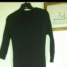 "Ralph Lauren Sweater Dress Cute black ribbed knit sweater dress.  3/4 sleeve. 100% cotton.  43"" shoulder to hem.  Hip 17"" laid flat.  This is a heavy fall/winter dress.  Like new condition. Ralph Lauren Dresses"