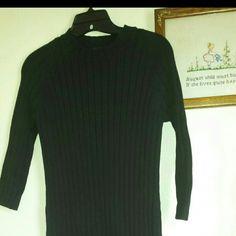 "Ralph Lauren Sweater Dress Cute black ribbed knit sweater dress.  3/4 sleeve. 100% cotton.  43"" shoulder to hem.  Hip 17"" laid flat.  This is a heavy fall/winter dress.  Like new condition. Ralph Lauren Dresses"