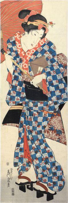 Keisai Eisen (1790-1848): Young Woman Walking Under Umbrella, woodblock print, ca. 1842-46.