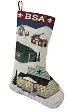 From our house to yours, this collectible holiday stocking depicts a charming winter scene featuring the houses from our own Lighted Scouting Village! Thanks to a total of 70 fiber-optic light points throughout the design, soft yellow lights g Fiber Optic, Home Gifts, Scouts, Christmas Stockings, Ornaments, Holiday Decor, Cards, Needlepoint Christmas Stockings, Boy Scouting