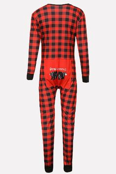 91a7e9aa8b3 Women Red Plaid Button Up Long Sleeve Casual Christmas Pajama Suit Set - S