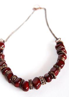 Beaded Necklace Boho Necklace Copper Necklace by DlightedJewelry, $35.00