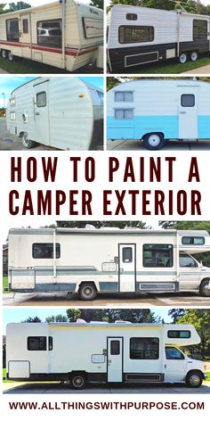 Camper Makeover Discover How to Paint the Exterior of a Camping Trailer or RV Ive painted the exterior of multiple campers - from a vintage trailer to a RV. Ill share what technique I use and how well it has held up! Camper Diy, Truck Camper, Camper Trailers, Camper Ideas, Rv Travel Trailers, Popup Camper, Happy Campers, Camping Illustration, Pintura Exterior