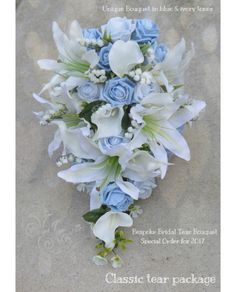 Blue Wedding Flowers Tear Drop Brides Bouquet - A UNIQUE Cascade bridal shower bouquet designed in your colour theme, here in baby blue and light blue roses with ivory lily, calla and lily of the valley for a 2017 bride - Bridal Shower Bouquet, Lily Bouquet Wedding, Cascading Wedding Bouquets, Wedding Flower Guide, Lily Wedding, Bride Bouquets, Blue Roses Wedding, Baby Blue Weddings, Boquette Wedding