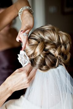 Curly updo - A big fan of the veil under the curls ; )