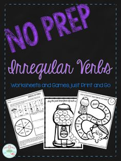 I have been loving no prep/print and go activities lately so I wanted to share one with all of you.  This freebie has 3 different worksheets for you to simply snatch off of the printer and start working on! They all target irregular past tense verbs in a fun way. Thereis a multi-task worksheet. …