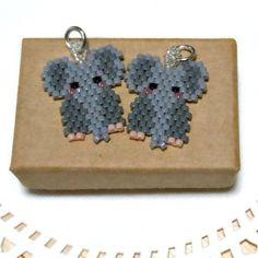 Seed Bead Elephant Charm - Jungle Animal Beaded Jewelry - Brick Stitch Beading on Etsy, $3.50: