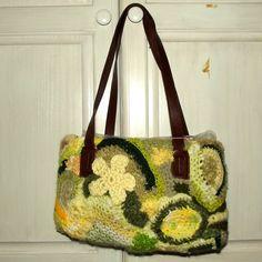 Freeform Crochet Purse Sunlit Meadow Upcycled by WildHeartYarnings, $44.00