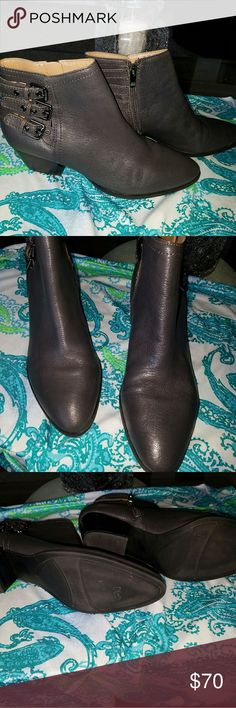 Franco Sarto Ankle Boots Pretty soft charcoal gray leather, free of any scratches or scuffs. They were only worn a couple of times. Very comfortable. Franco Sarto Shoes Ankle Boots & Booties