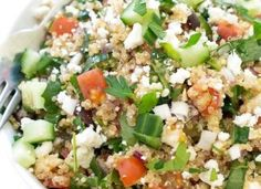 Prepare time: 15 min Cook: 15 min Ready in: 30 min The main ingredients used in this Greek-style salad are kale and quinoa. Kale Quinoa Salad, Salad Bar, Kale Salads, Salad Dressing Recipes, Salad Recipes, Greek Roasted Potatoes, Greek Dinners, Cooking Recipes, Greek
