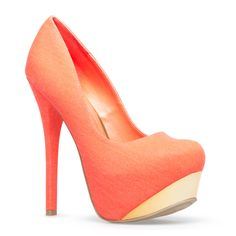 Roz - Coral Heels with metallic beveled platform ($32.21)