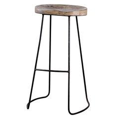 Our Alden Bar Stools Pair A Rustic Carved Wood Bucket Seat