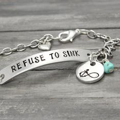 Refuse To Sink Anchor Bracelet, Turquoise Anchor Bracelet, Anchor Infinity