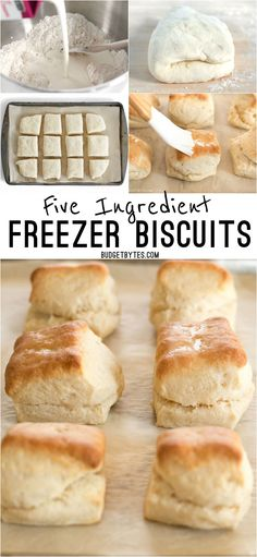 5 Ingredient Freezer Biscuits are the fastest and easiest way to have fresh, warm, and fluffy biscuits for breakfast any day of the week. (Pizza Recipes With Biscuits) Frozen Biscuits, Fluffy Biscuits, Eggless Biscuits, Oatmeal Biscuits, Easy Biscuits, Cinnamon Biscuits, Cinnamon Rolls, Freezer Cooking, Gourmet