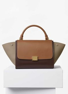 Small Trapeze Bag in Multicolour Calfskin Satin and Baby Grained Calfskin - Céline