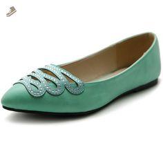 Ollio Women's Shoe Ballet Infinity Rhinestone Pointed Toe Flat (8 B(M) US, Green) - Ollio flats for women (*Amazon Partner-Link)