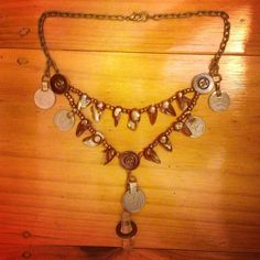 Vintage steel buttons and freshwater pearl necklace for tribal or tribal fusion Bellydance on Etsy, $140.00 AUD