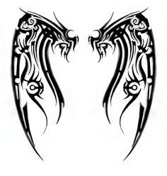 Back Tattoos For Men Wings Tribal Tribal Back Tattoos, Tribal Phoenix Tattoo, Back Tattoos For Guys, Wing Tattoo Men, Wing Tattoo Designs, Wing Tattoos, Tattos, Tattoo Wings, Dove Tattoos
