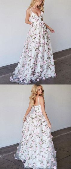 Beautiful prom dresses a-line spaghetti straps floral lace long prom dress white evening dress Unique Prom Dresses, A Line Prom Dresses, Beautiful Prom Dresses, Prom Gowns, Dress Prom, Prom Dresses Flowers, Dress Wedding, Long Dresses, Teen Prom Dresses