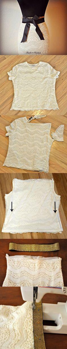 Diy lace shirt into skirt