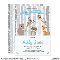 Baby Shower invite Woodland Animals Forest Boy