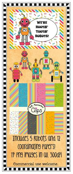 "Rootin' Tootin"" Robots - Includes coordinating paper collection!  $ http://www.teacherspayteachers.com/Product/Clip-Art-Rootin-Tootin-Robots-includes-coordinating-papers-740956"