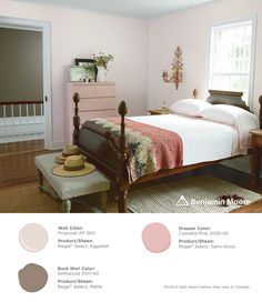 A bedroom with a warm glow. Walls: Proposal AF-260 with Regal Select, Eggshell finish; Back Wall: Driftwood 2107-40 with Regal Select, Matte finish; Dresser: Camellia Pink 2093-50 with Regal Select, Semi-Gloss finish