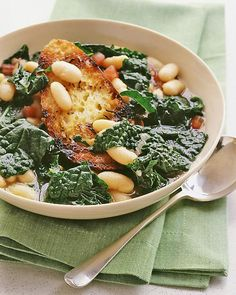 Cavolo Nero and Cannellini Bean Soup: Cavolo nero, AKA Tuscan kale, is a dark leafy green rich in beta-carotene, calcium, folic acid, iron, & vitamin C, Wholeliving.com