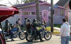 bikers and a flooded purple house. by Alex Cockroach.                                                                                                                                                           bikers                                    ..