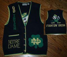 Vintage Belle Pointe NOTRE DAME Irish Football Cardigan Sweater Vest-M-golf/knit