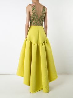 Marchesa Notte floral embroidery & applique dress