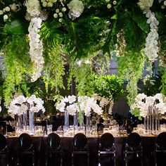 EVENT .  The view from within our Fairytale Forest wedding design this weekend. We created a suspended ceiling of oversized and cascading greenery, adorned with roses and orchids. Floating above our golden King's Tables, guests were transported within this avant-garde design for @carlysahyoun @anddyyn  Event design and styling by #jasonjamesdesign Florals @seedflora Custom made props and hire @eventsbynadia