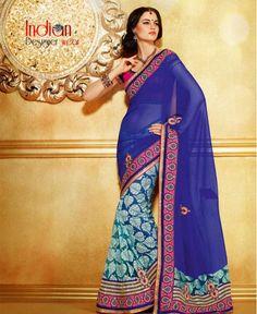 Shades of Blue Georgette & Net Saree