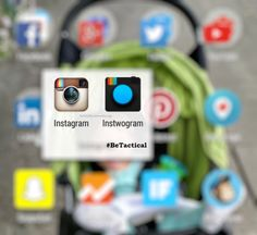 Instagram and Instwogram (Instagram Clone) apps on one smartphone; Tactical Social Media; #BeTactical