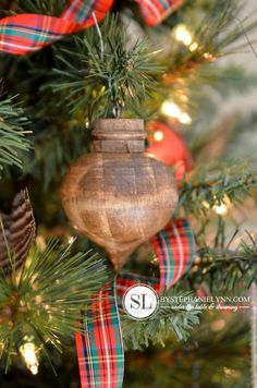 Stained Turned Wooden Christmas Ornaments ($2 ornaments from Michael's + stain)