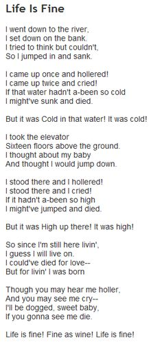 """Life is Fine"" by Langston Hughes - Google Search"