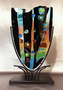 Amazing Multicolored Mosaic Fused Art Glass Sculpture/Vase in Metal Stand - NEW <3<3<3AWESOME<3<3<3