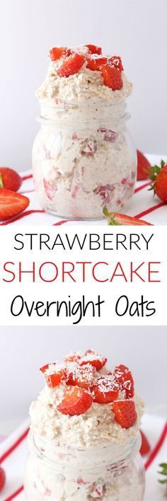 So easy to make and super healthy, these Strawberry Shortcake Overnight Oats…