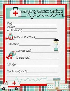 Free printable kids emergency phone list for kids for Fire escape plan worksheet