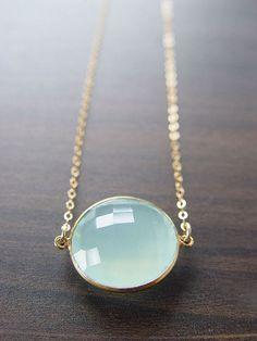 Aqua Chalcedony Necklace Round 14k Gold