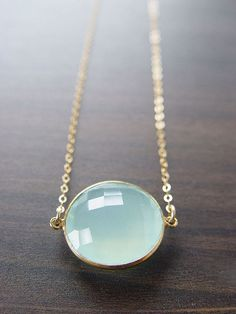 Aqua chalcedony necklace.
