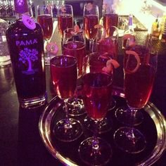 Night starting off right with this riff on a kir royale: champagne + a splash of #PAMA pomegranate liqueur. Bottoms up!