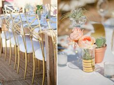 rose table decor - LOVe the idea of placing a bunch of air plants on the table Wedding Trends, Wedding Designs, Wedding Ideas, Wedding Tables, Wedding Details, Parker Palm Springs, Floral Wedding, Green Wedding, Gold Wedding