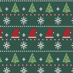 Crochet Motif Patterns, Fair Isle Knitting Patterns, Christmas Knitting Patterns, Knitting Charts, Christmas Stocking Pattern, Christmas Cross, Hygge Christmas, Xmas Cross Stitch, Cross Stitch Embroidery