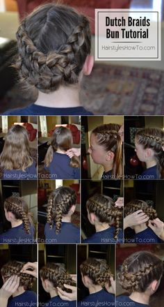 Dutch Braids Pinned Into a Bun Tutorial - Works with straight, curly, or any hair texture! Fancy Hairstyles, Creative Hairstyles, Braided Hairstyles, Beautiful Hairstyles, Dutch Braid Bun, Dutch Braids, Fishtail Braids, Bad Hair, Hair Day