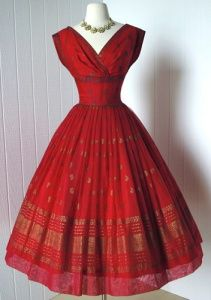 1950's gorgeous red chiffon cocktail party dress with a handscreened gold metallic eastern print, paisley, and an intricate border design.